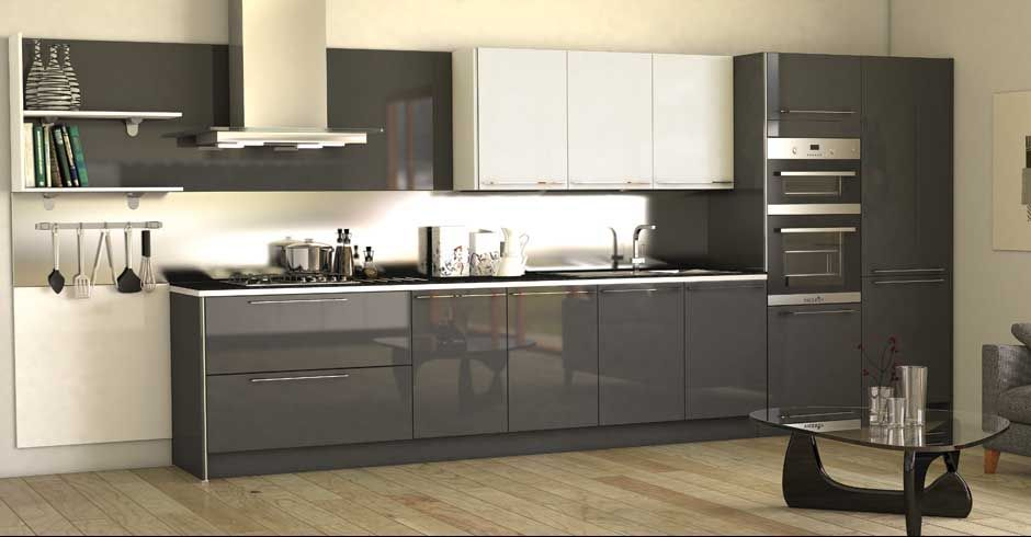 High gloss kitchen cabinet grey for Kitchen ideas high gloss