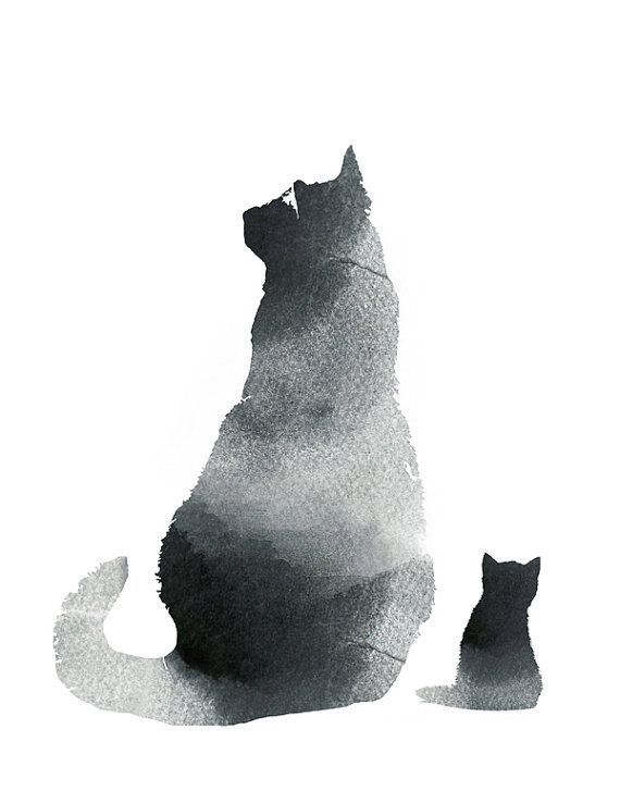 Black Cat Wall Art Art Print Watercolor Black White Cat Print