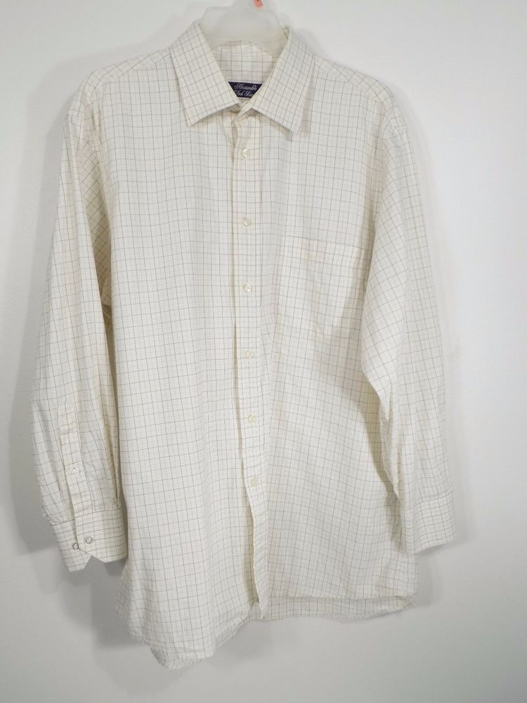 Alessandro Dal Borro Men S Dress Shirt Off White Vintage Plaid Made In Italy Alessandrodalborro Mens Shirt Dress Vintage Plaid Shirt Dress