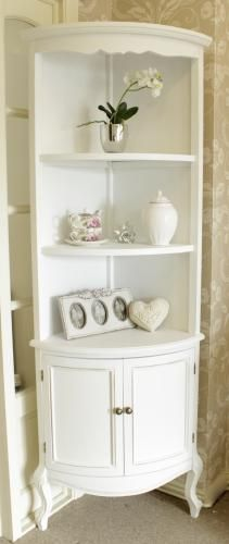 Classic white tall corner shelf unit with cupboard - White bathroom corner shelf unit ...