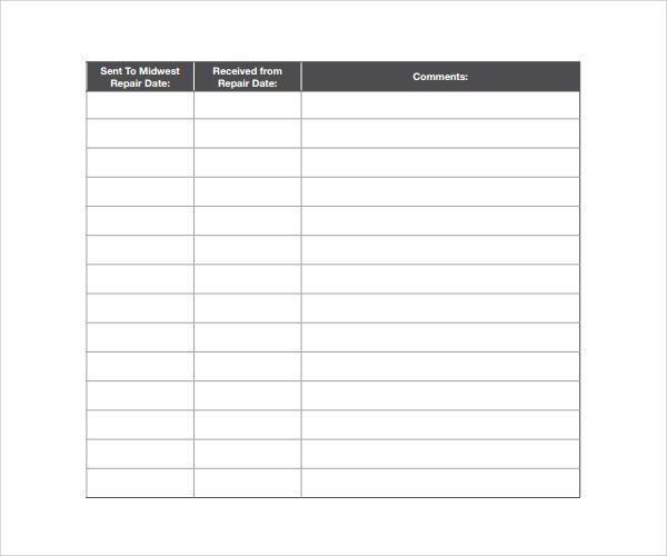 Vehicle Repair Log Templates 10+ Free Word, Excel  PDF Sample