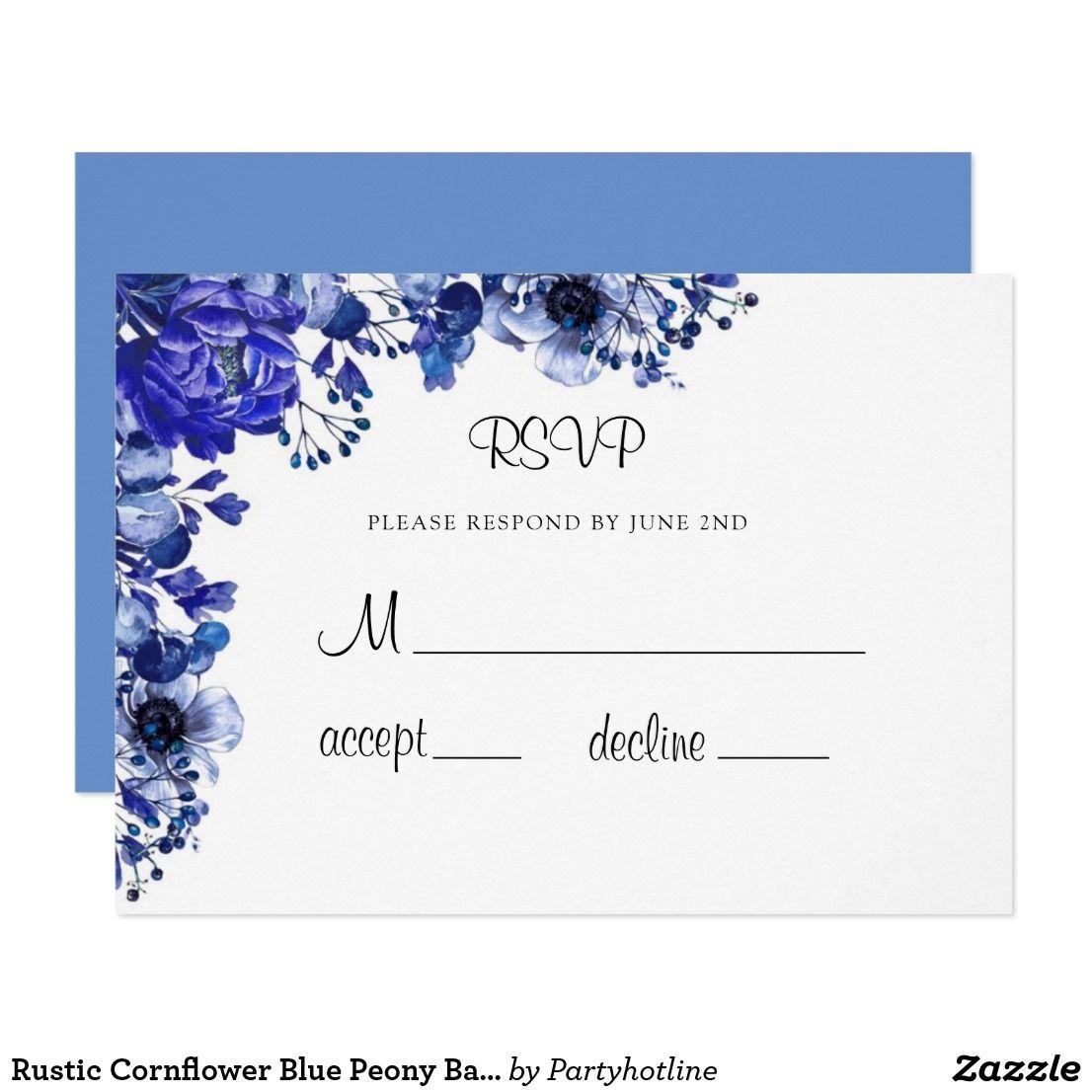 Rustic Cornflower Blue Peony Baby Shower RSVP Invitation | Zazzle.com #bluepeonies