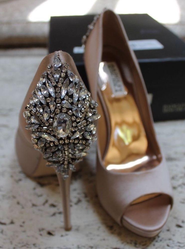Badgley Mischka Kiara latte satin platform stiletto heels sz 9 embellished #BadgleyMischka #Stilettos #BridalorWedding