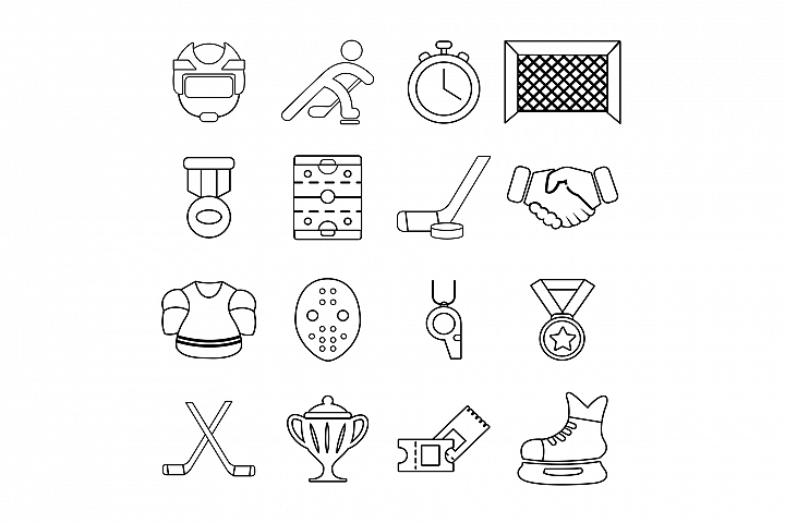 Pin By Tonda Dunlap On Hockey In 2020 Icon Set Outline Illustration Hockey