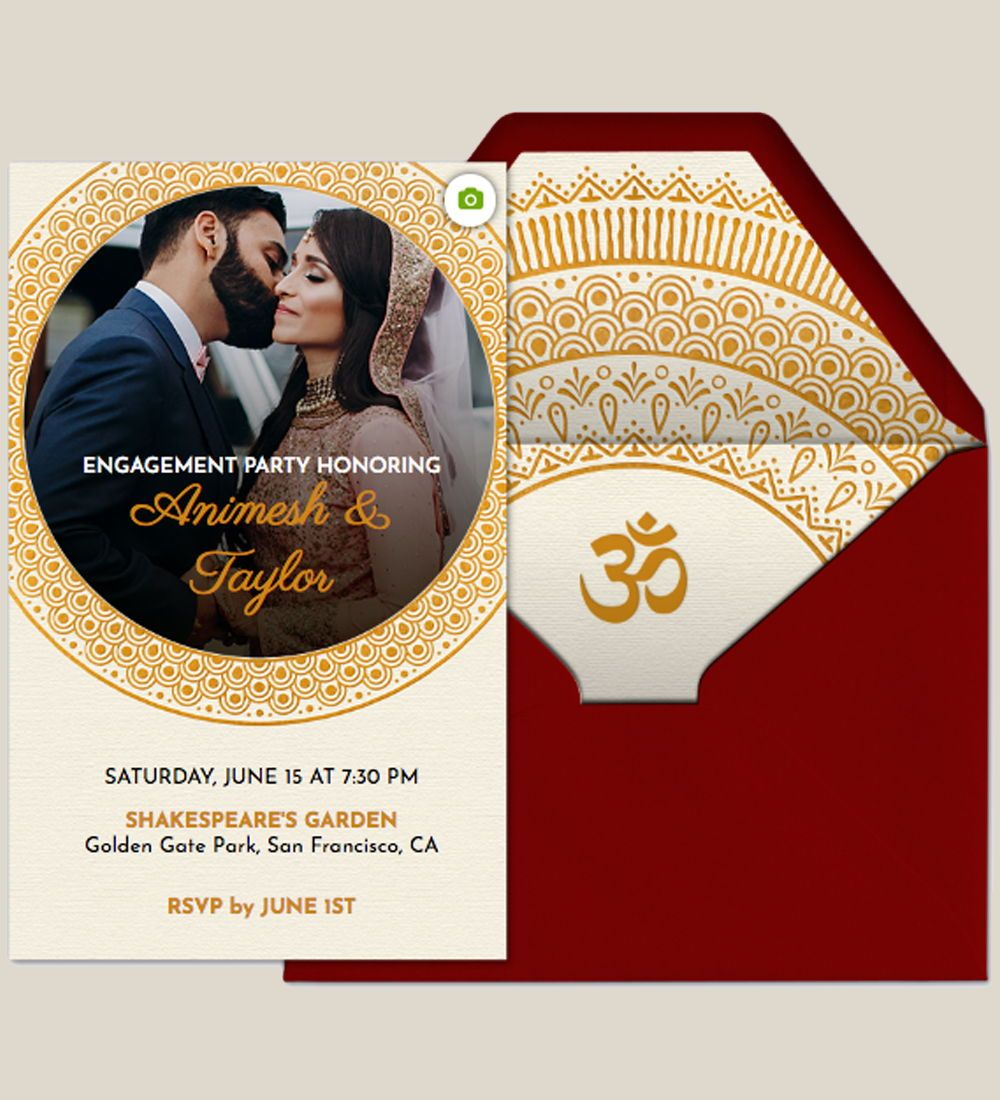 Host an engagement party for a wedding with this premium (ad-free) Evite  invitation. Pers… | Wedding engagement invitations, Engagement invitations,  Mandala wedding