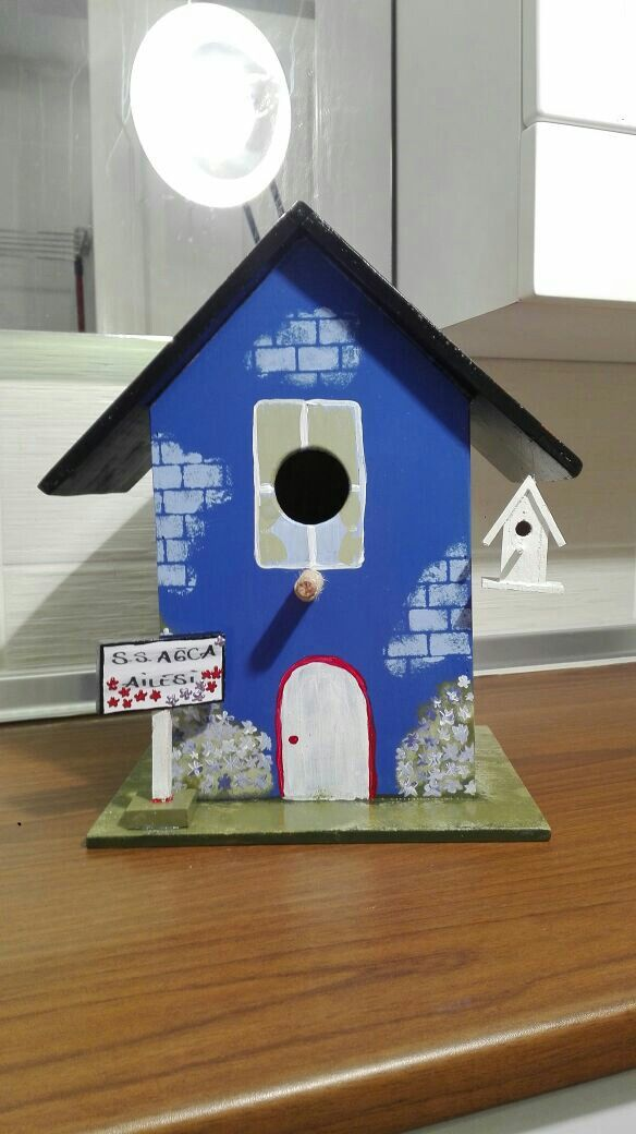El Boyama Kus Evi Handpaint Birdhouse Kus Evi Kus