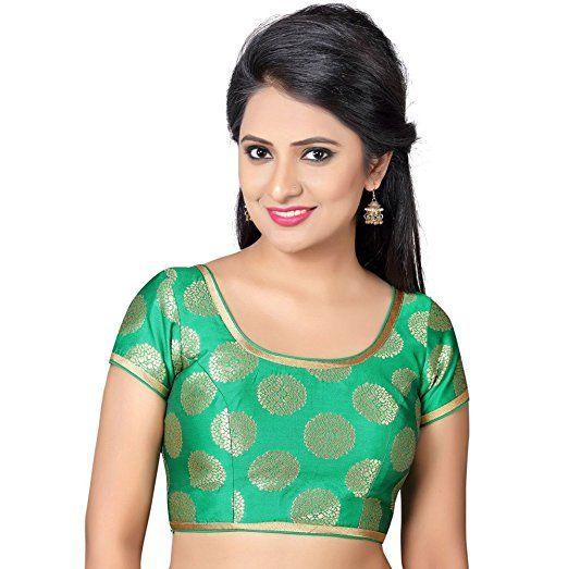 0c326ea741144 Bollywood Blouses Women s Designer Readymade Back Open Artistic Print Zari  Border Saree Blouse Medium Green