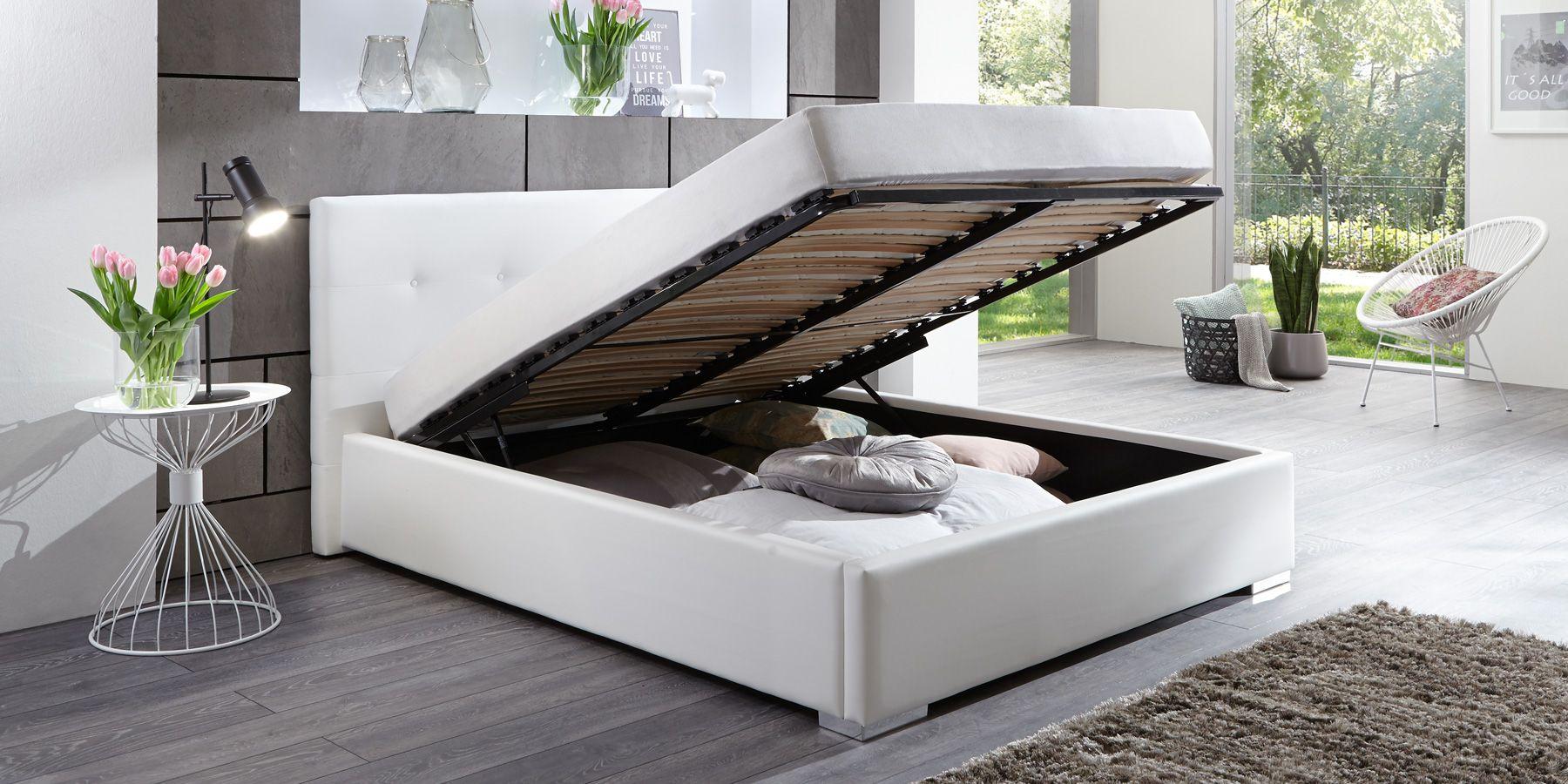 Bett mit Bettkasten 180x200 weiß Polsterbett mit