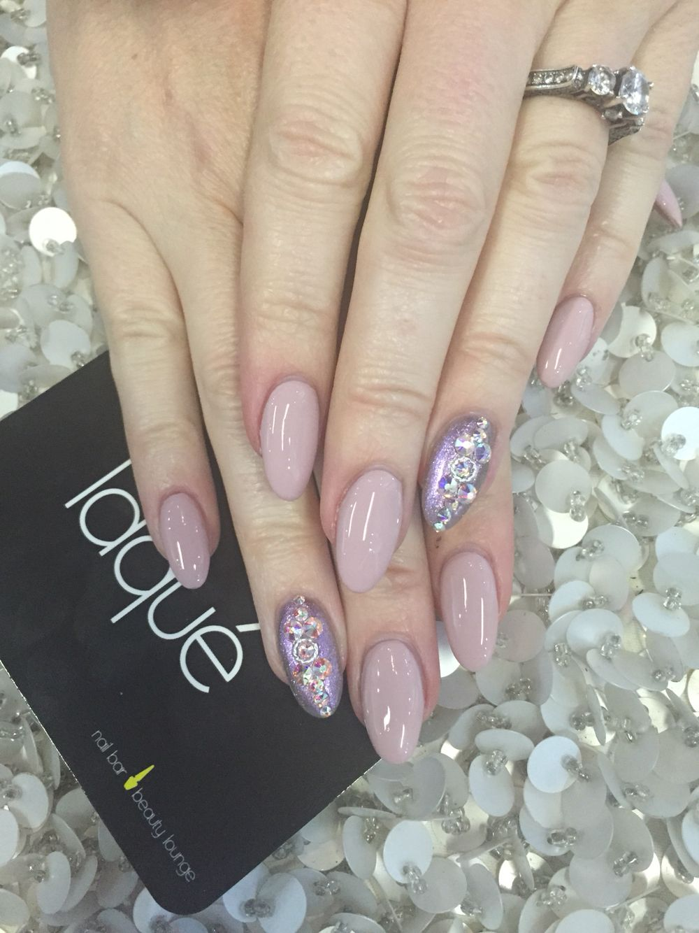 My almond shape nails with swarovski crystals -Laque Nail Bar ...