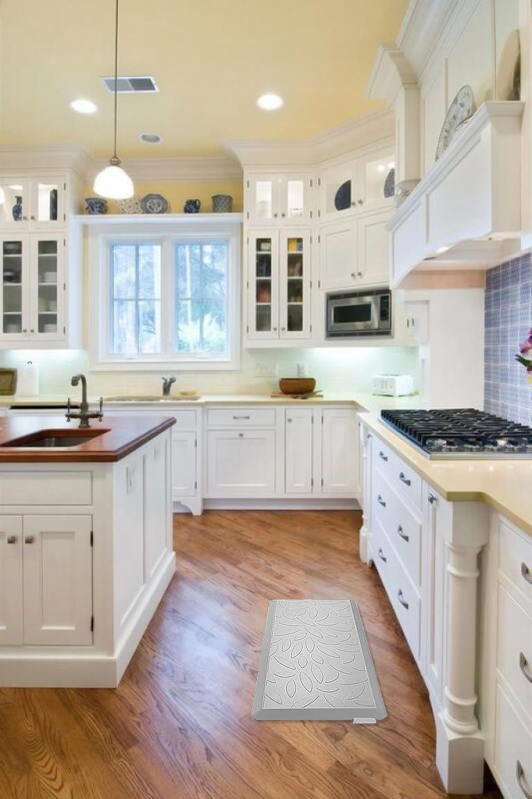 l shaped kitchen floor mats | White kitchen traditional ...