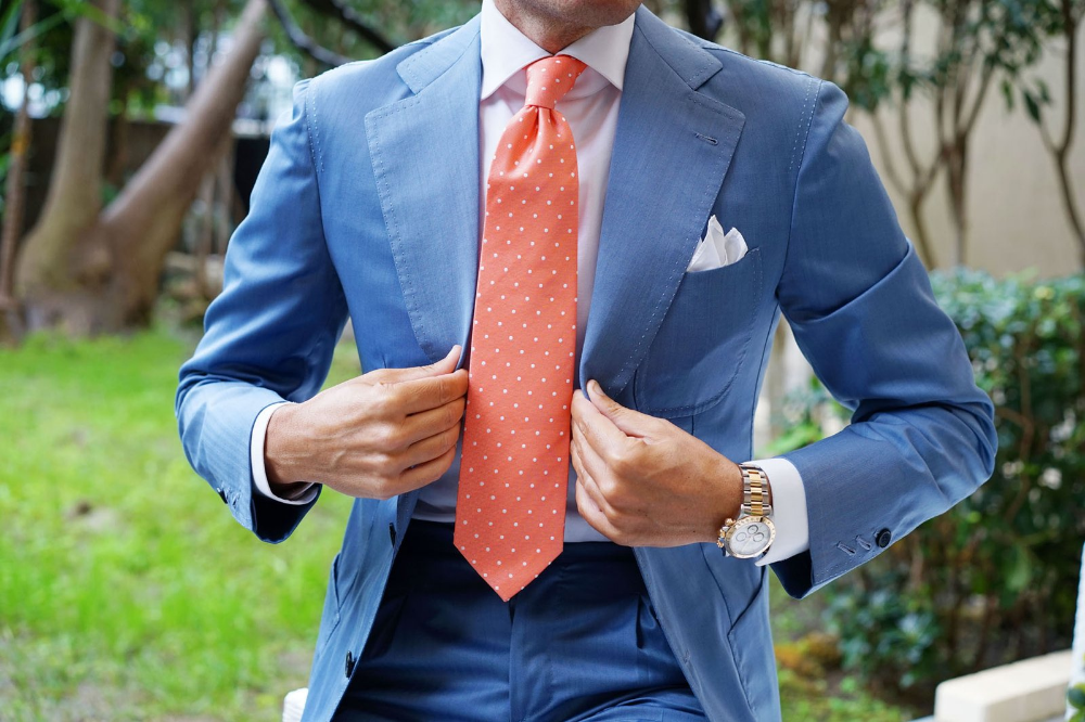 Coral Orange with White Polka Dots Necktie Light blue