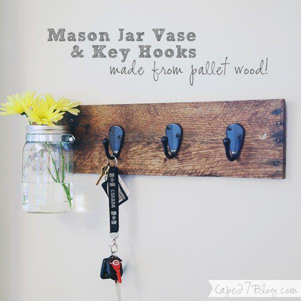 DIY Mason Jar Vase & Key Hooks Combo via Cape 27 Could work for coat hooks  also with maybe basket for landing strip?
