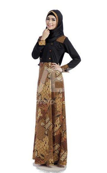 Model baju gamis batik kombinasi polos  Model Gamis  Pinterest