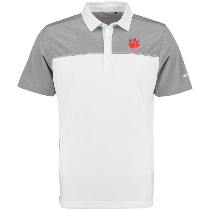 Clemson Tigers Columbia Golf Front Nine Omni-Wick Polo - White/Gray - $52.99
