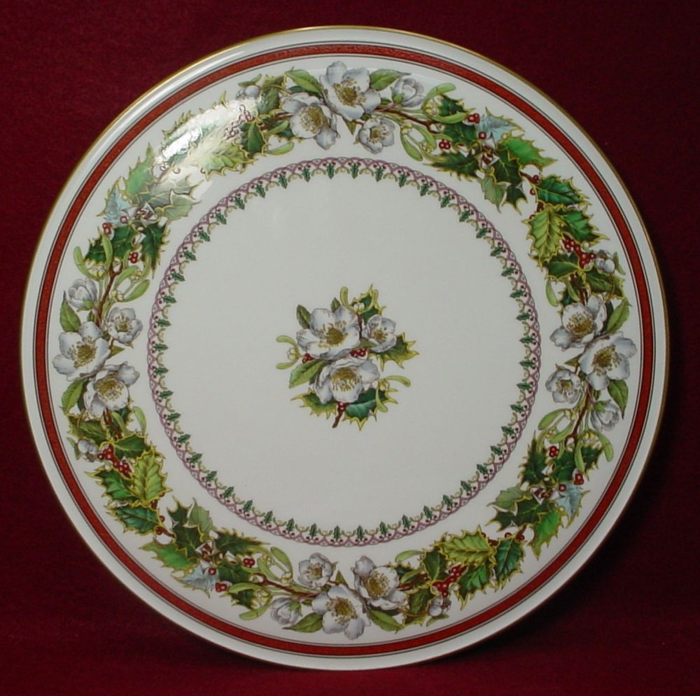 SPODE china CHRISTMAS ROSE Y8560 pattern CAKE SERVING PLATE 11\  Made in England & SPODE china CHRISTMAS ROSE Y8560 pattern CAKE SERVING PLATE 11\