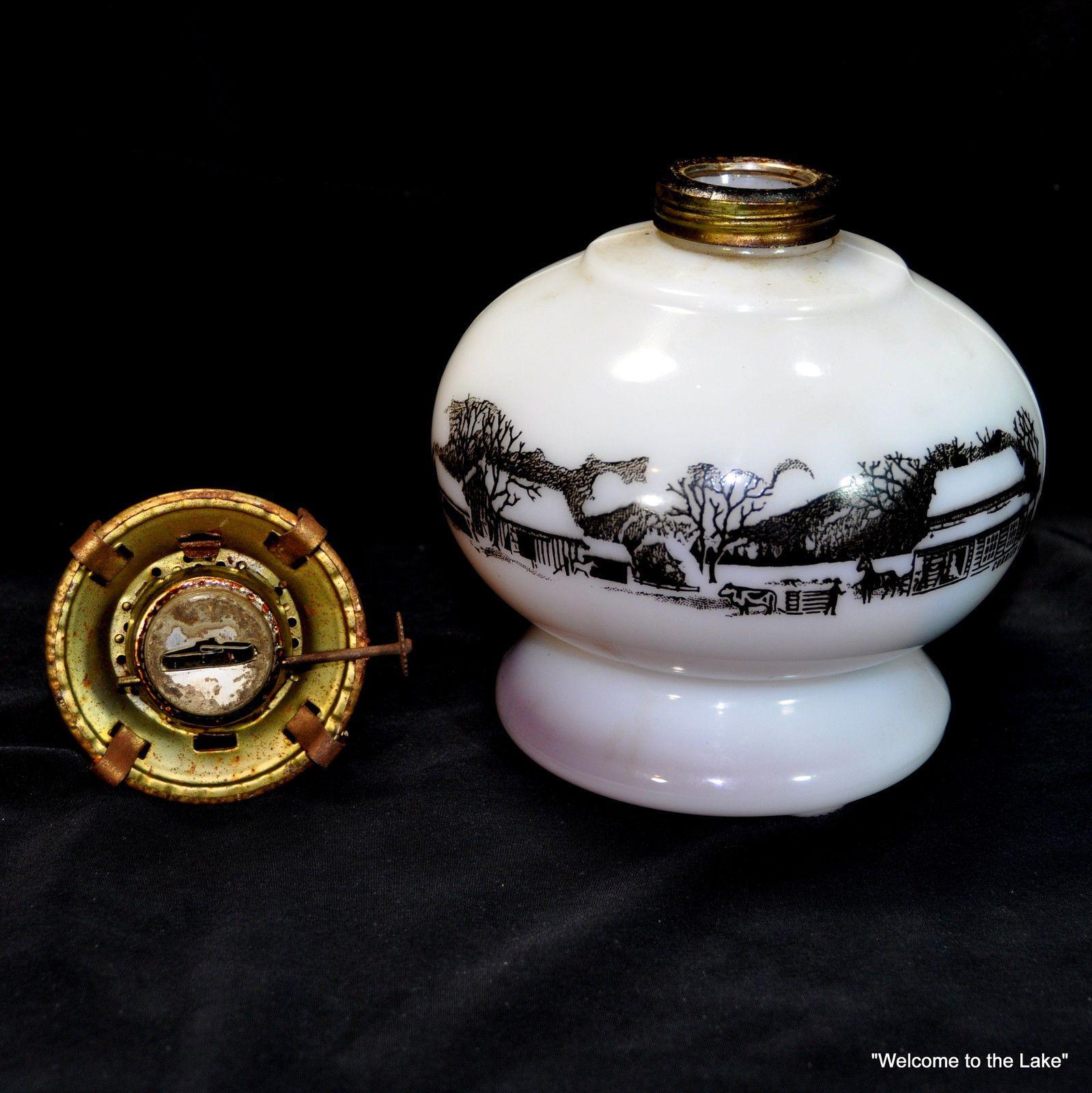 Kerosene Lamp Vintage White Oil Lamp Currier And Ives Scene Oil Lamps Currier And Ives Kerosene Lamp