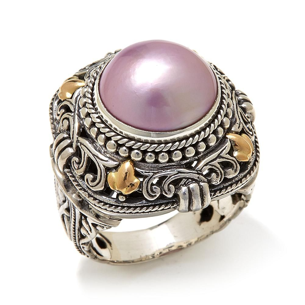 Bali Designs by Robert Manse Pink Mab Pearl 2Tone Sterling Silver