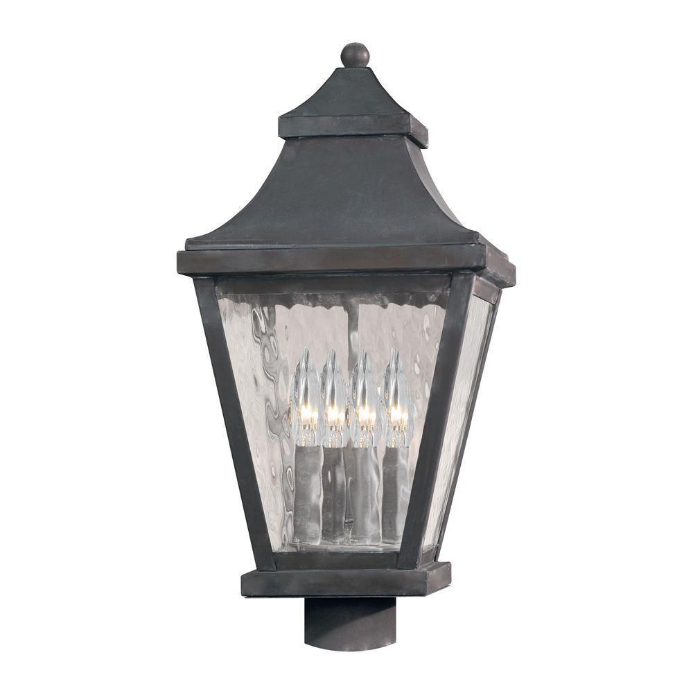 East Bay Street 4-Light Outdoor Charcoal (Grey) Post Light