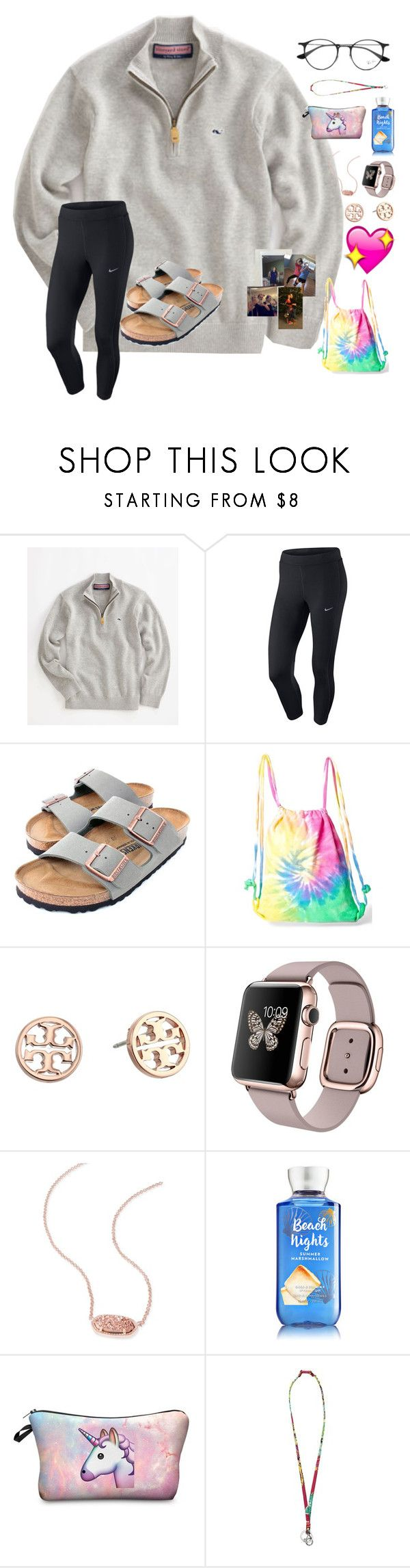 """~l-ayyyeeee-zy~"" by taybug2147 ❤ liked on Polyvore featuring Vineyard Vines, NIKE, Birkenstock, Colortone, Tory Burch, Kendra Scott, Vera Bradley and Ray-Ban"