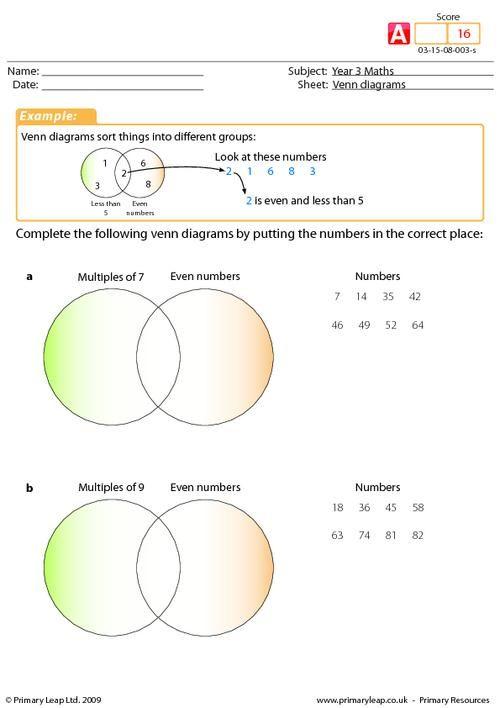Year 3 Maths Venn Diagrams Clasa 5 Pinterest Venn Diagrams
