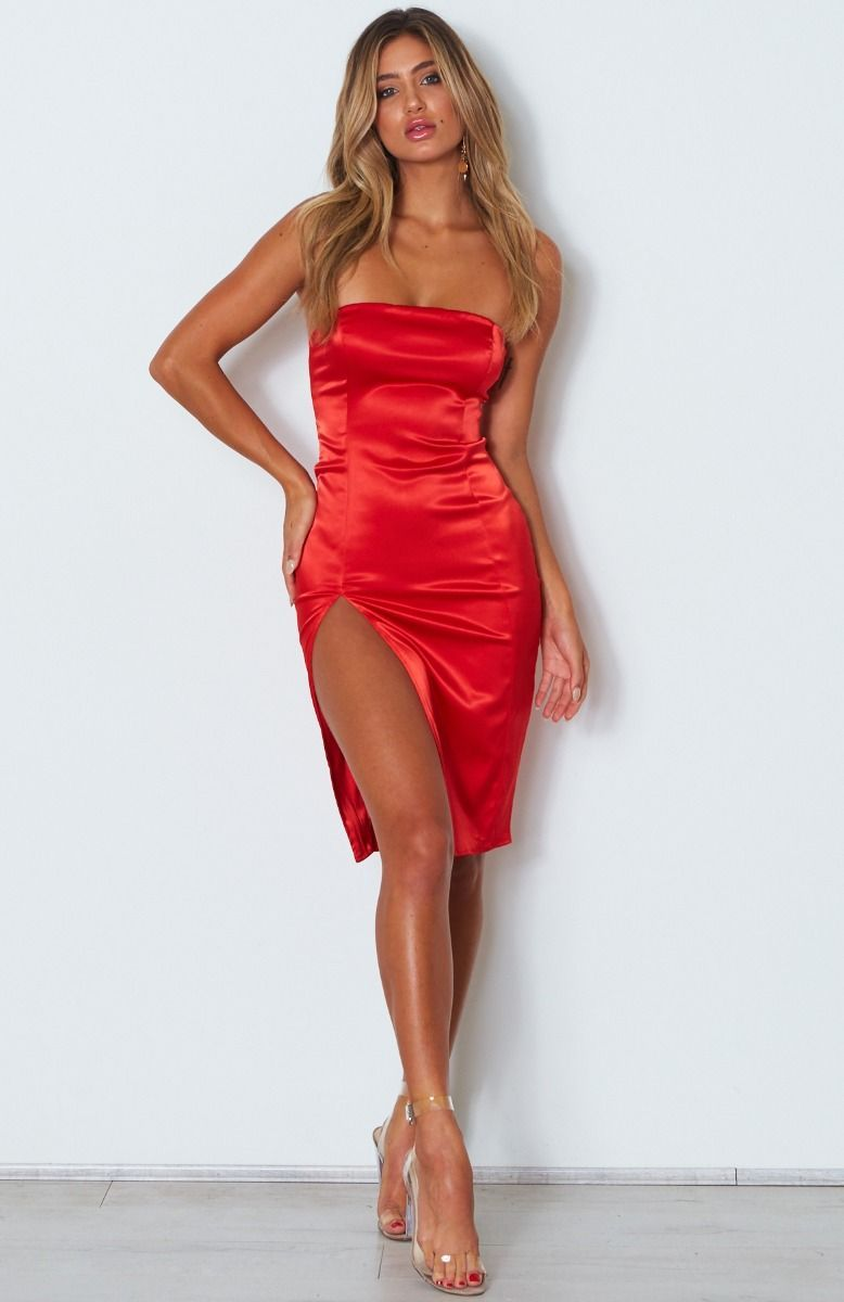 Khloe Satin Split Dress Red Giftryapp Beautiful