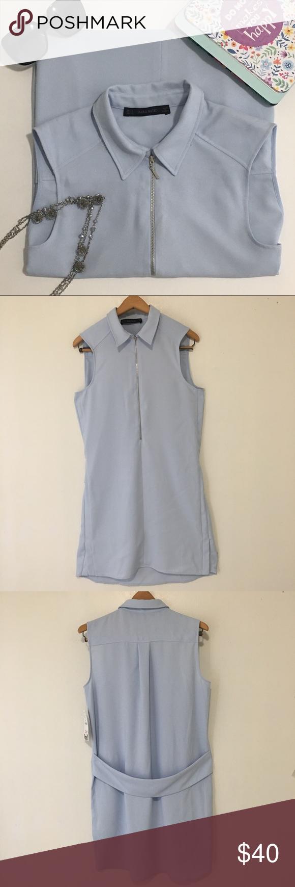 9f666bc2f76acb Zara Basic Shift Dress Knee Length Sleeveless Blue NWT! Zara Basic Shift  Dress  Small