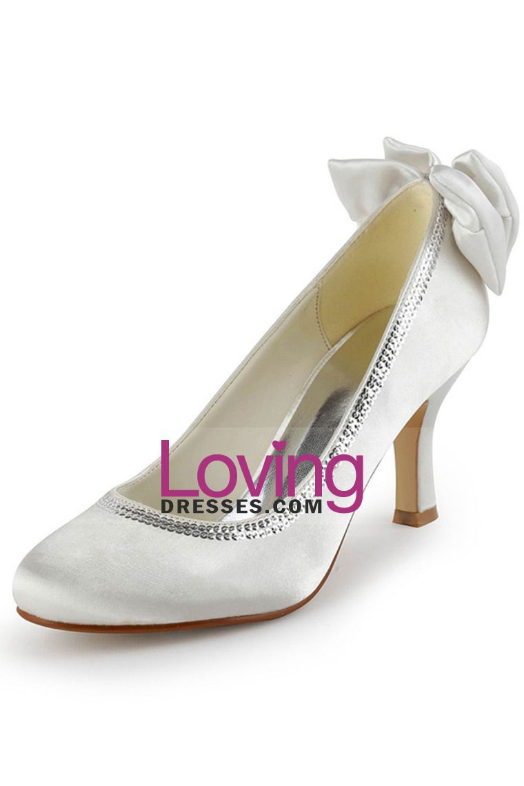 4a289314aa5 White Women s Kitten Heel Closed Toe Wedding Shoes With Bowknot Th12128