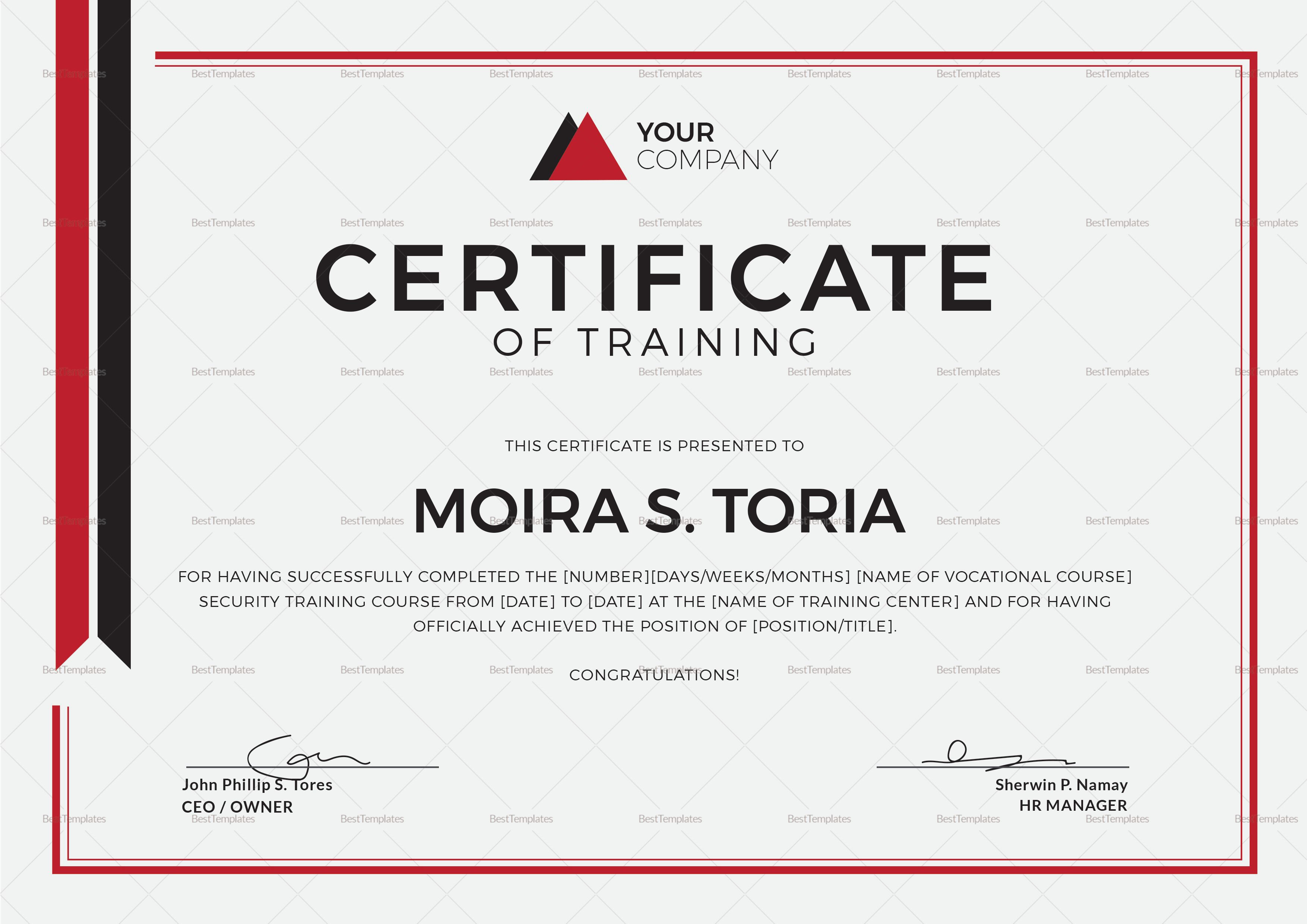 Security Training Certificate Template Regarding Template For Training Certificate Cumed Org