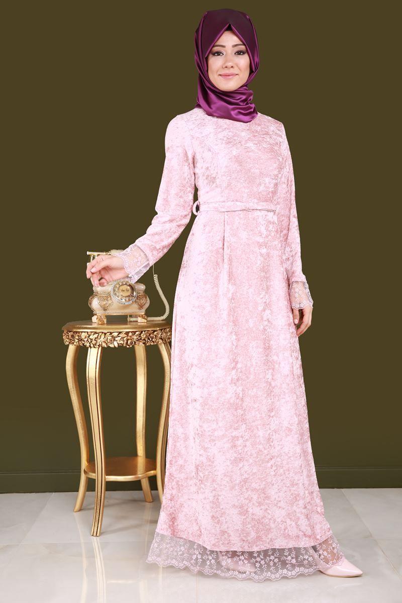 Dantelli Tesettur Kadife Elbise Pudra Urun Kodu Kprs1012 79 90 Tl Moda Stilleri Elbise Elbiseler