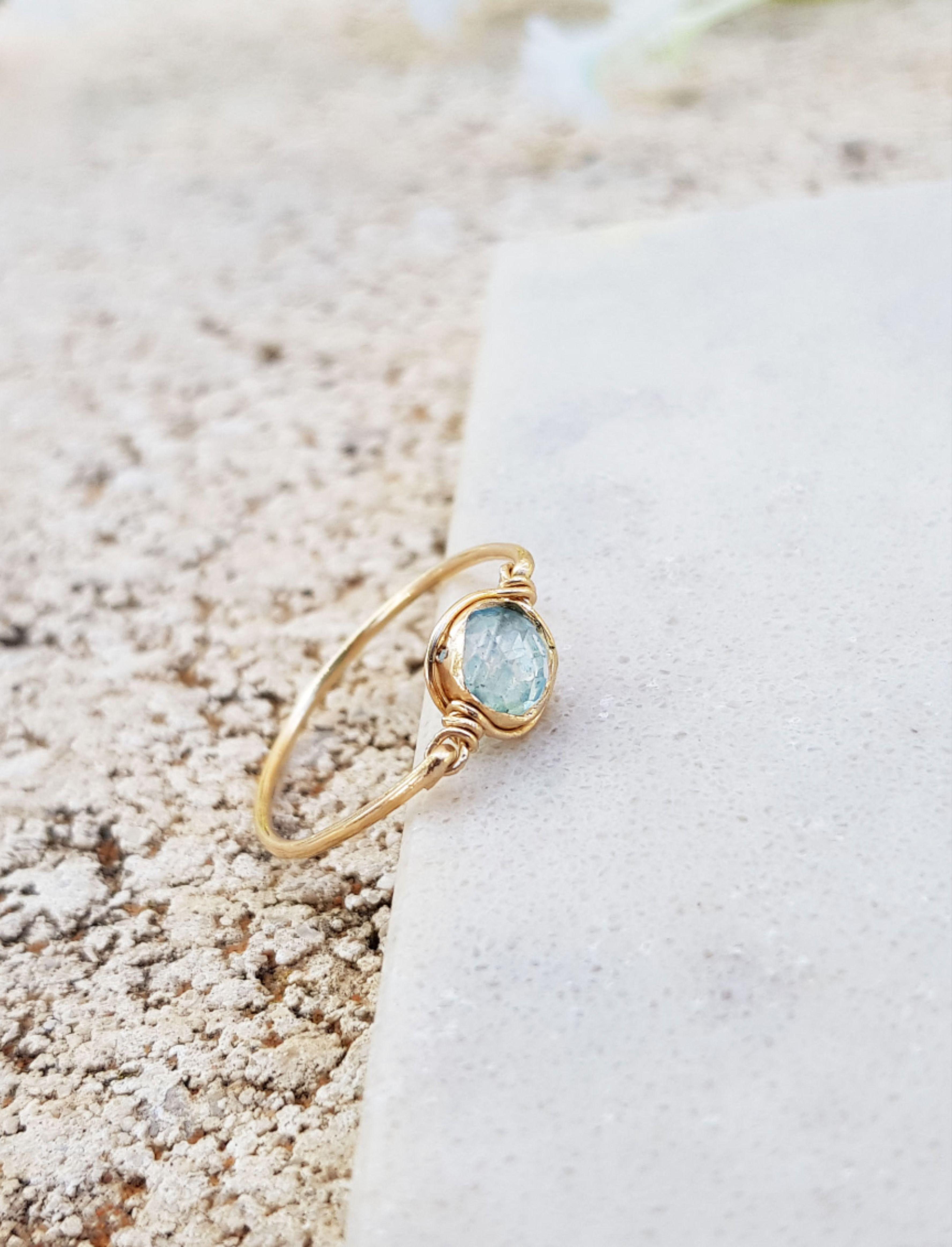 Women Ring Gemstone Ring Handmade Ring Gift For Her 925 Silver Ring Boho Ring Birthstone Ring Statement Ring Blue Topaz Ring