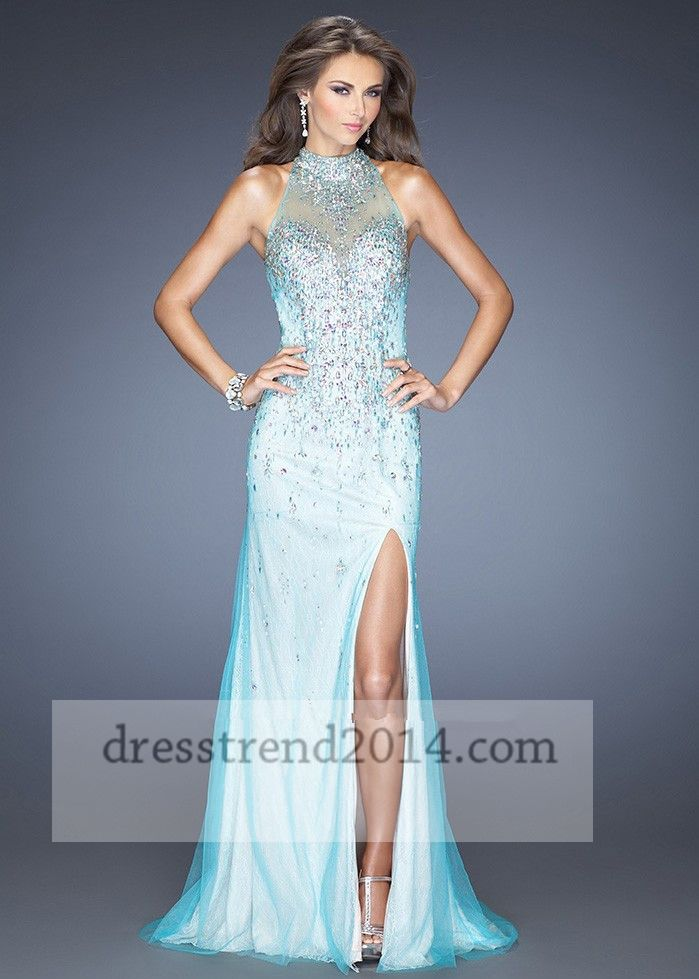 Beaded Mint High Neck Slit Open Back Long Prom Dress