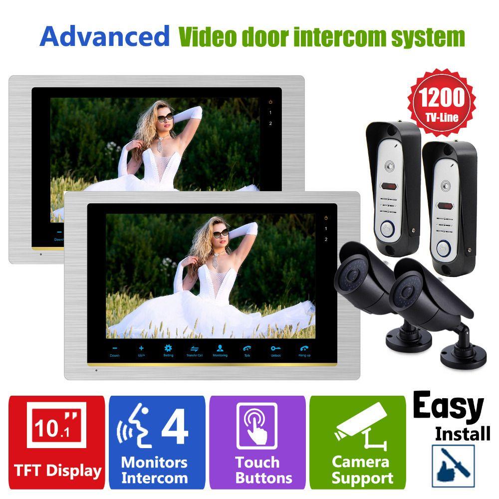 Homefong 10 Inch 2 Doorbell Camera 2 CCTV Camera And 2 Monitor Home Security  Doorbell Door