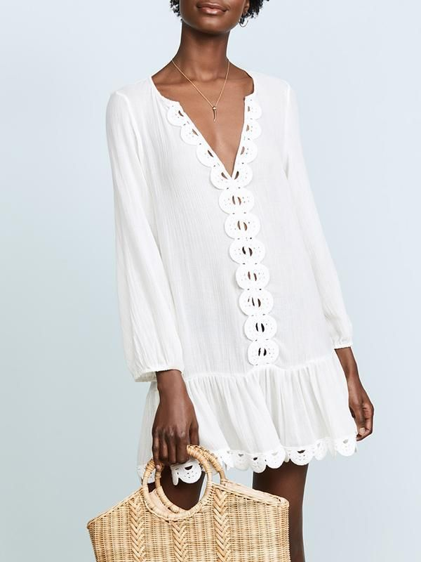 36c4c29133c White V-neck Long Sleeves Beach Cover-Ups #look #love #amazing  #bohemiastyle #boho #shopforselection #cute #dress #style #stylish