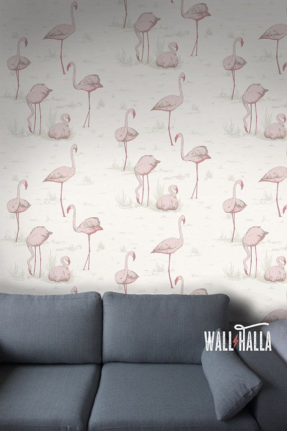 Seamless Self Adhesive Flamingo Water Pattern Wallpaper Removable Vintage Wall Decals Stickers
