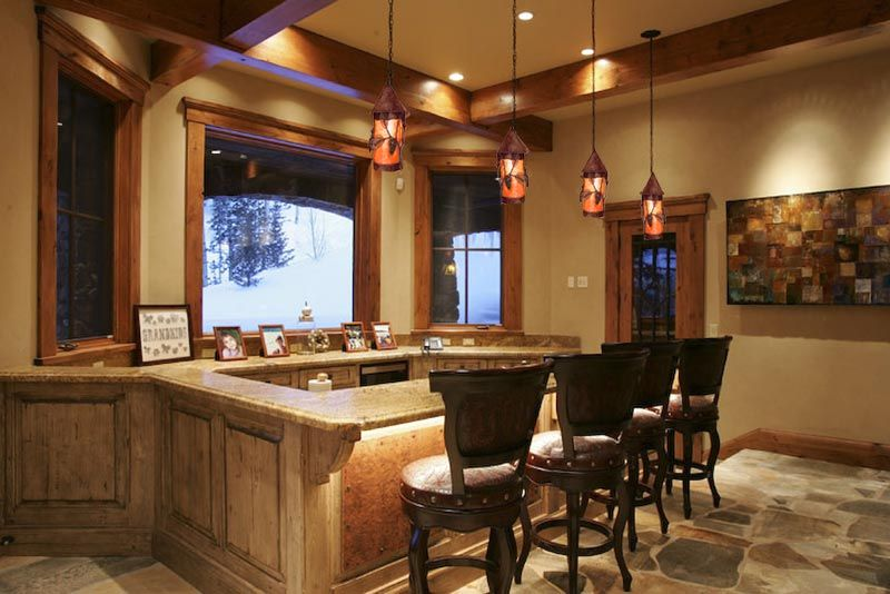 Floor wood trim and wall color kitchen bar lights
