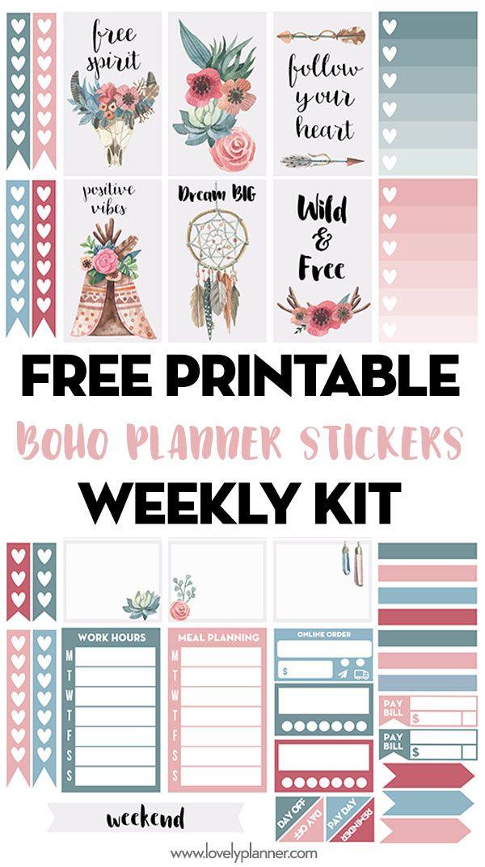 Free Printable Boho Planner Stickers Weekly Kit Printable