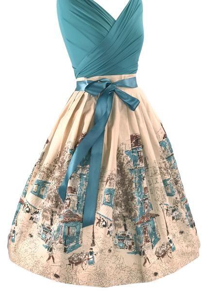 048581595 Vintage 1950s Parisienne Scenic Skirt- New!