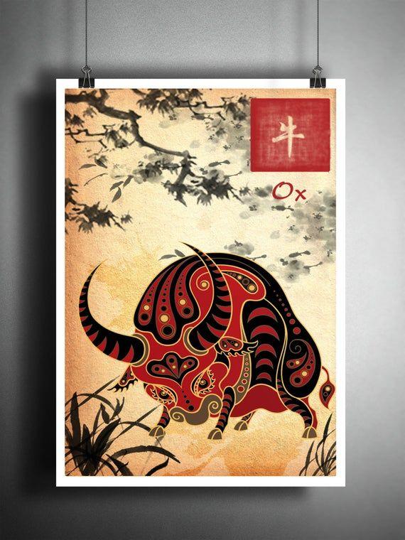 Chinese Zodiac Ox Asian Wall Art Astrology Art Print Etsy In 2021 Astrology Art Print Asian Wall Art Japanese Ink Painting