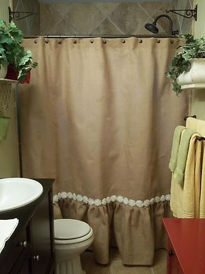 Ruffled Bottom Burlap Shower Curtain with White Shabby Flower Trim ...