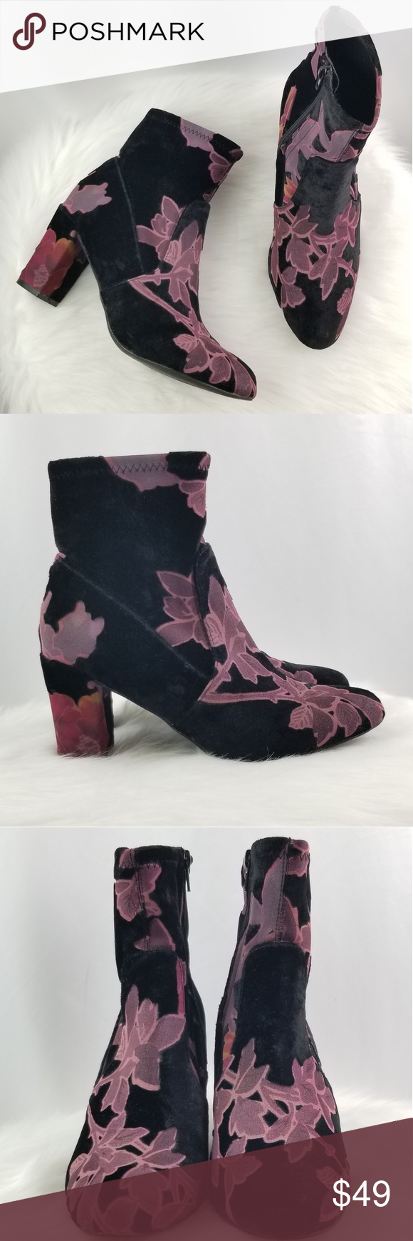 da09e2666ab Steve Madden Emison-V Velvet Ankle Block Boots Give a whimsical touch to  your fashionista look with this bootie from Steve Madden.