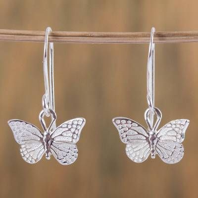 Elastic Silver Dangly Butterfly Ring