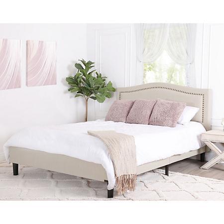 Ellie Cream Linen Upholstered Queen Platform Bed Curved In 2020