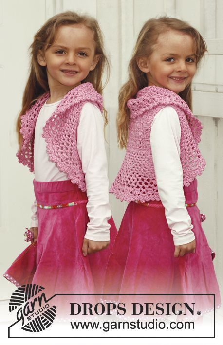 "Crochet DROPS bolero in ""Muskat"". Size 3 - 12 years. 