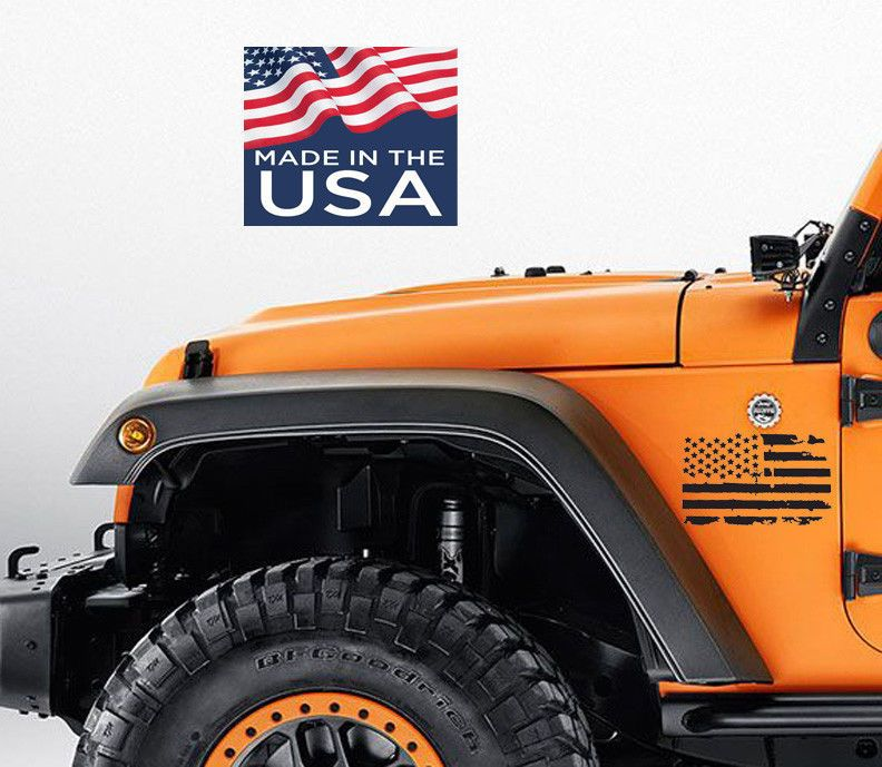2 us flag vinyl decals fits jeep wrangler distressed grunge american usa hood unbrandedgeneric