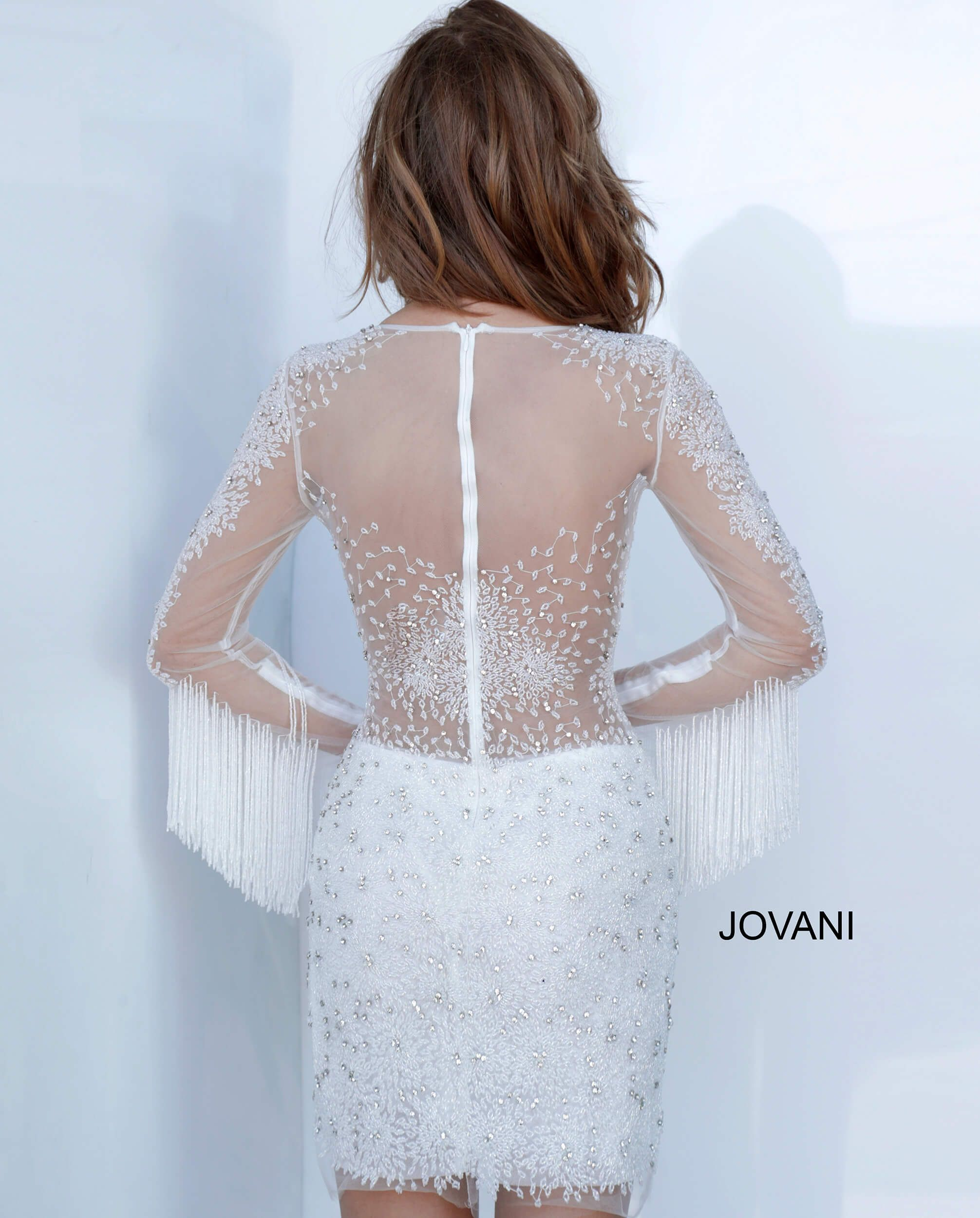 Jovani 3152 Off White Short Beaded Sheer Cocktail Dr Long Cocktail Dress Long Evening Gowns Illusion Dress [ 2500 x 2012 Pixel ]
