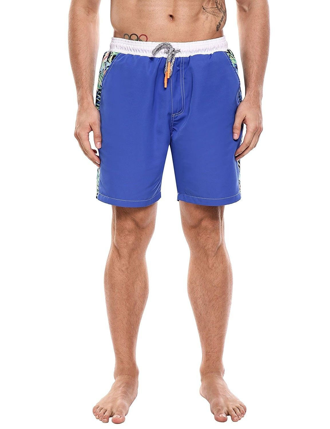 76239c1f2c0 Mens Fashion Broad Shorts Elastic Drawstring Waist Floral Print Beach Swim  Trunk - Type1 - Royal Blue - C6182EZ9I4Z