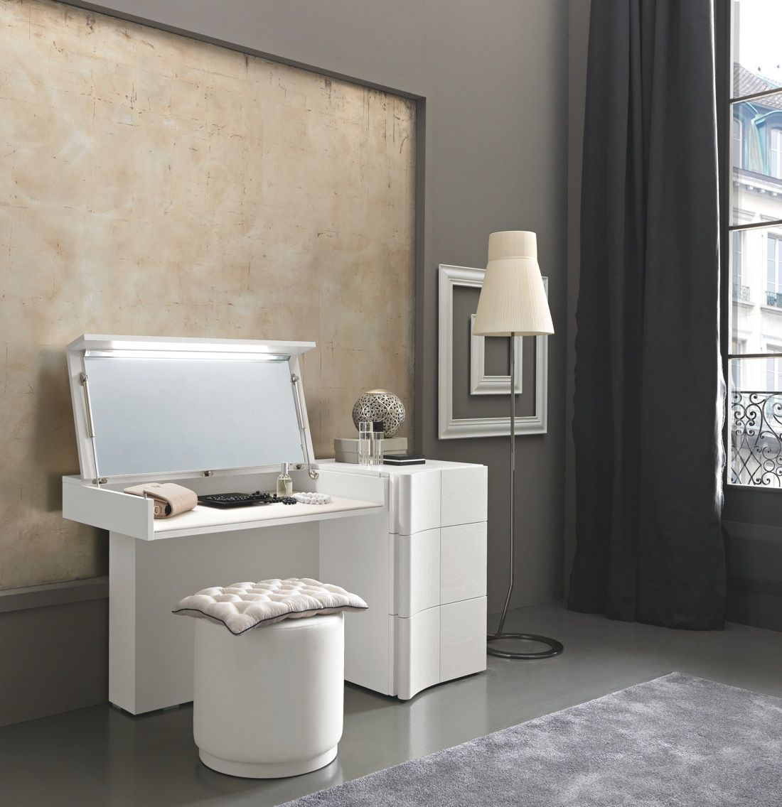 modern vanity table with mirror and bench. Adorable Modern Prestige Dressing Table For Living Space Made From White  Ash Wood Material With Flexible Mirror And Storage Feat Removable Makeup O