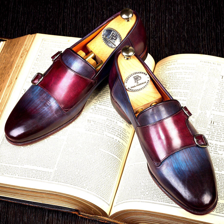 Paul Parkman Mens Bordeaux & Navy Double Monkstrap Shoes (ID#HR65CX)