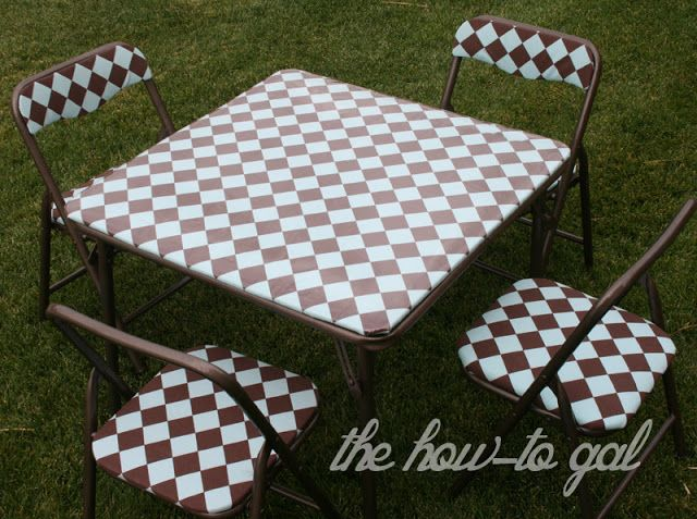 The How To Gal Child S Card Table And Chair Diy Card Table And Chairs Card Table Makeover Diy Chair