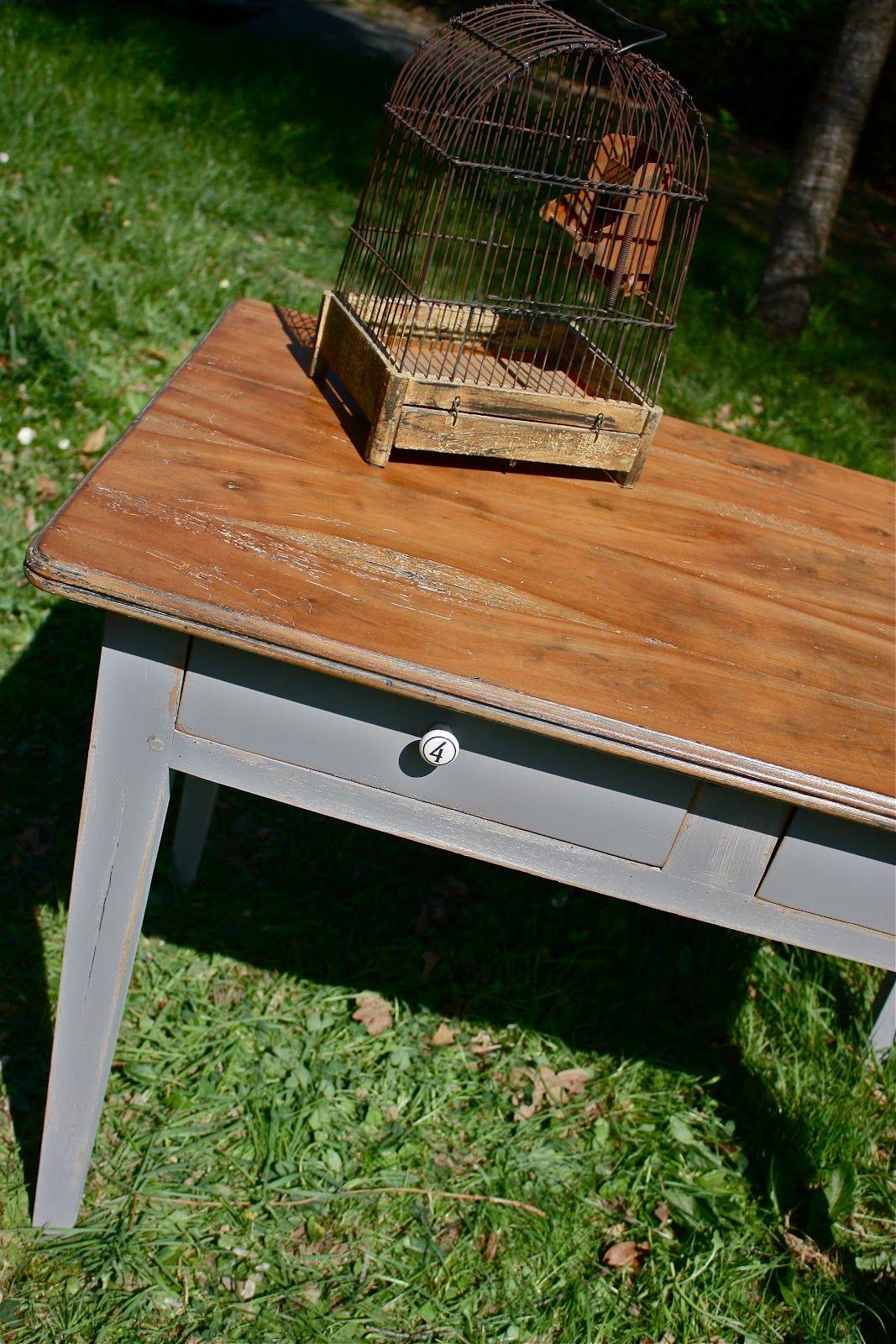 Restauration petite table ancienne patine gris bois brut - Table cuisine bois brut ...
